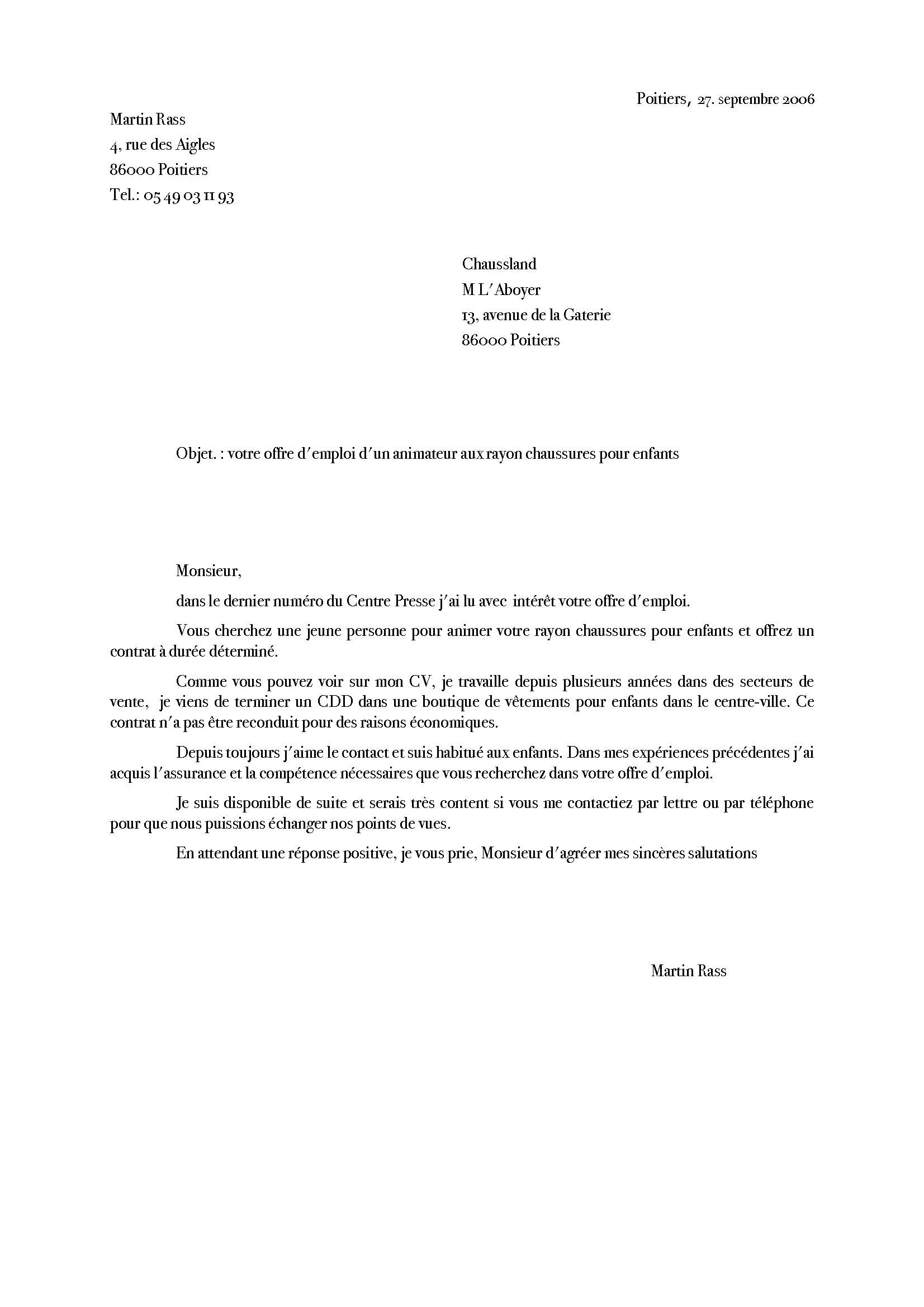 resume format  lettre de motivation exemple suisse